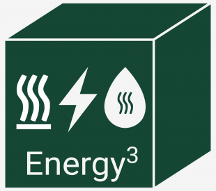 Energy3 Logo displaying a cube with a heating, hot water and electricity symbol