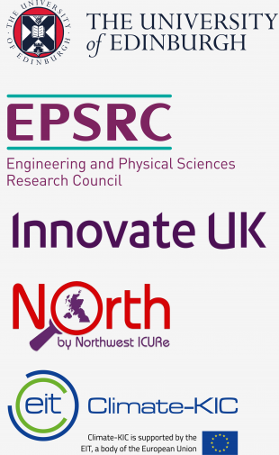 University of Edinburgh, EPSRC, Innovate UK,ICURe NxNW, and Climate KIC logos